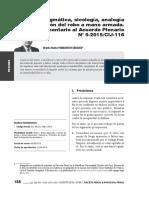 Dogmática, sicología, analogía e intención del robo a mano armada. Comentario al Acuerdo Plenario N° 5-2015/CIJ-116