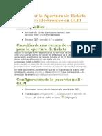 Configurar La Apertura de Tickets Por Correo Electrónico en GLPI