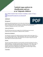 Evaluation of Palatal Rugae Pattern in Establishing Identification and Sex Determination in Nalgonda Children
