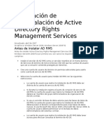 Información de Preinstalación de Active Directory Rights Management Services
