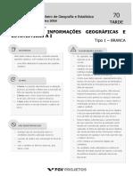 Fgv 2016 Ibge Tecnico Em Informacoes Geograficas e Estatisticas Prova