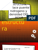 Estructura, Enlace Puente Hidrogeno y Densidad Del Agua