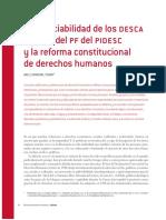 La Justiciabilidad de Los Desca a Partir Del Pf Del Pidesc y La Reforma Constitucional