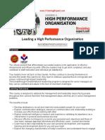 Leading a High Performance Organization