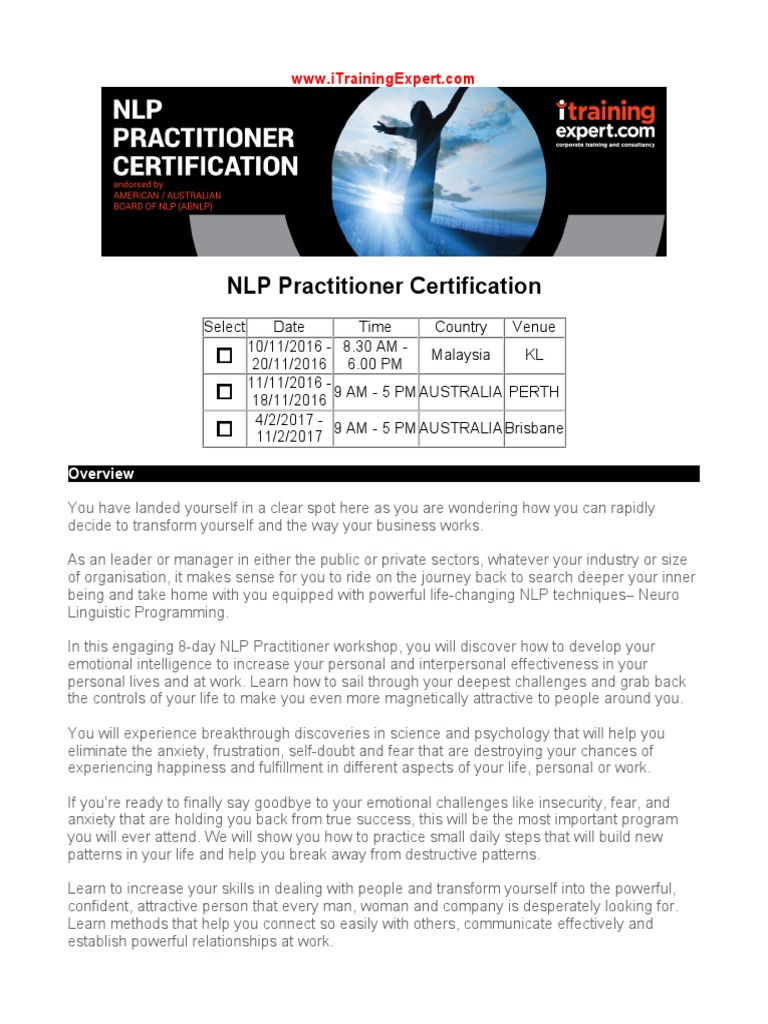 NLP Practitioner Certification | Neuro Linguistic ...