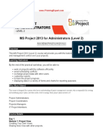 MS Project 2013 for Administrators (Level 2)