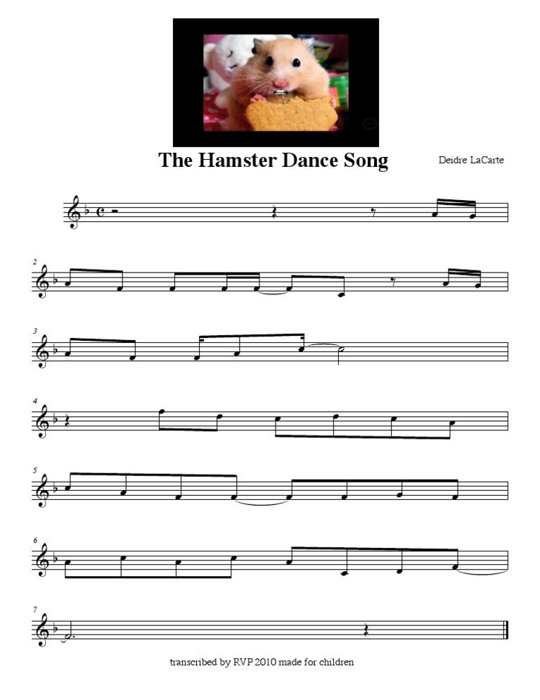 The Hamster Dance Song Sheet Music Divertissement General