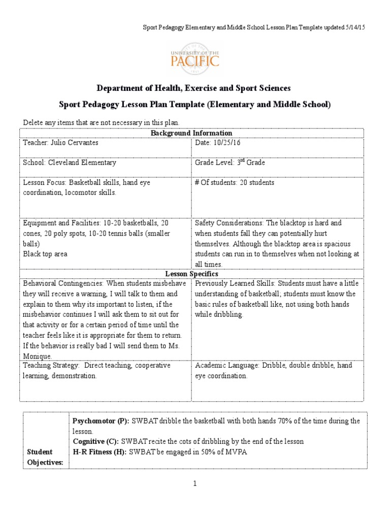 Physical Education Lesson Plan Template Geminifmtk StandardsBased – Elementary Health Education Lesson Plans