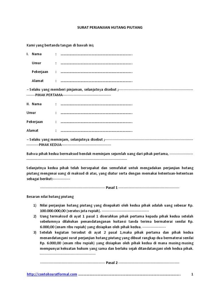 Contoh Surat Perjanjian Hutang Piutang Pdf