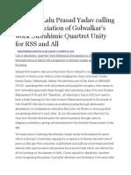Salam to Lalu Prasad Yadav Calling for Denunciation of Golwalkar