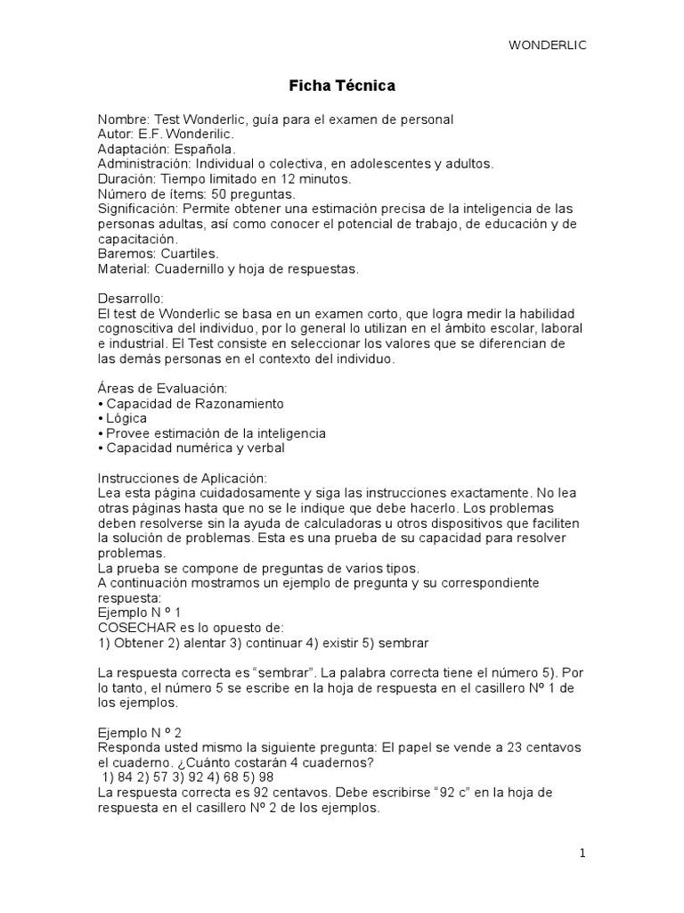 Test Wonderlic Ficha Tecnica Conceptos Psicologicos Sicologia Y Ciencia Cognitiva