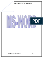 Introduction to MS Word and Techniques Formulae