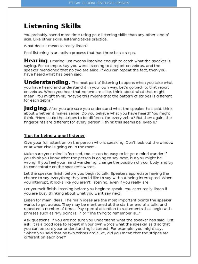 Listening Skills | Cognition | Psychology & Cognitive Science
