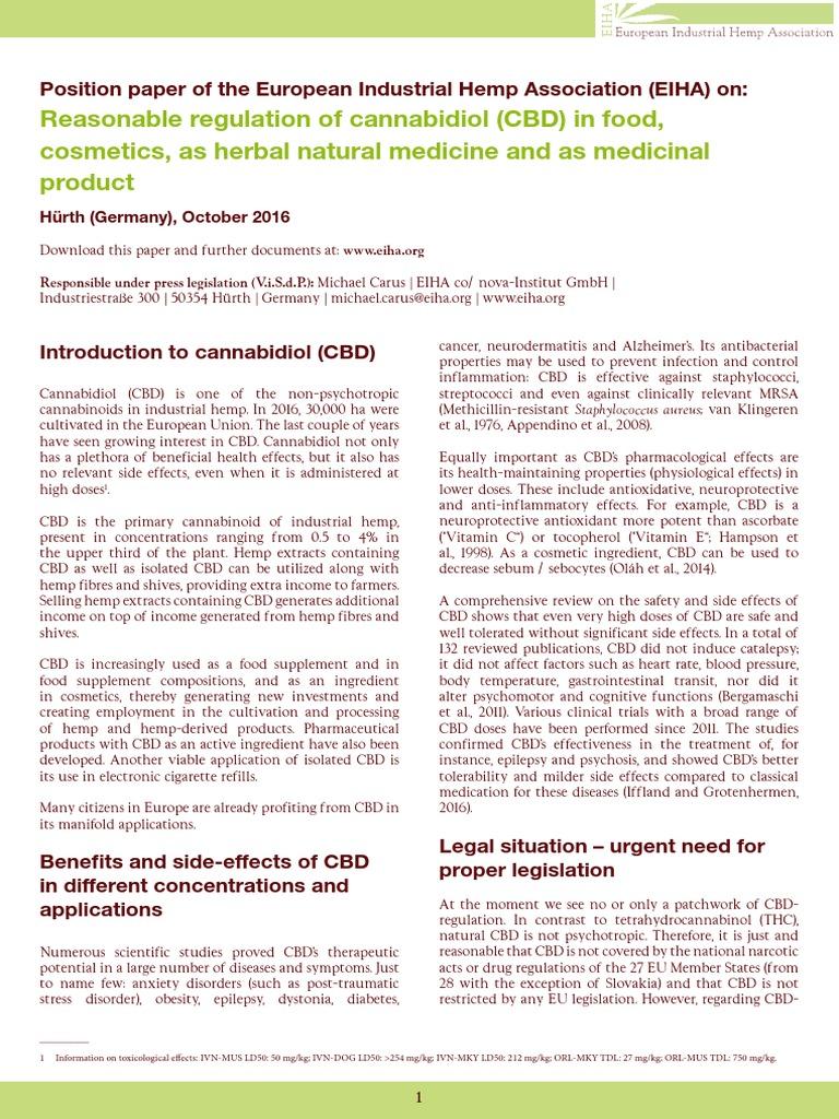 EIHA CBD Position Paper   Tetrahydrocannabinol   Cannabis (Drug)