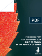 Right to asylum in the Republic of Serbia - periodic report for July - September 2016