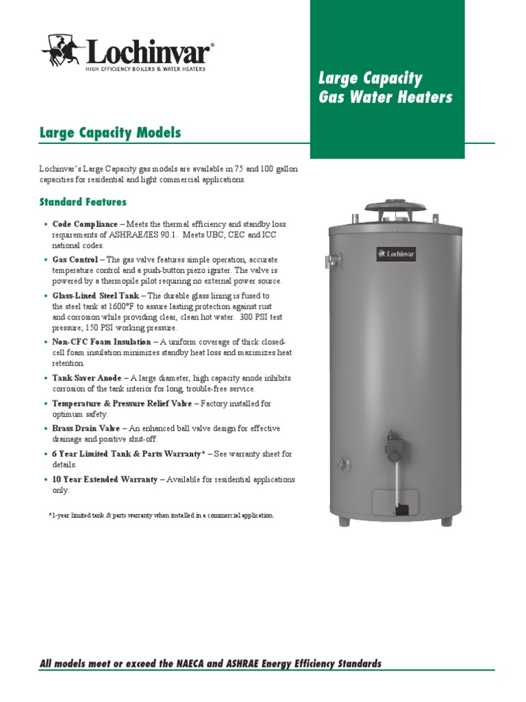 RLC-01 Large Capacity Models Lochinvar pdf | Water Heating