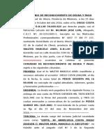 Convenio de Reconocimiento de Deuda y Pago de Walter Marcelo y Costa