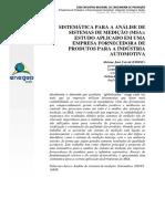 Sistemática Para Analise de Sistemas de Medição - Estudo Aplicado Em Uma Empresa Fornecedora de Produtos Para Indústria Automotiva