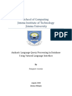 Amharic Language Query Processing in database  Using Natural Language Interface
