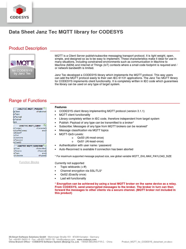 Product MQtt for Codesys | Internet Of Things