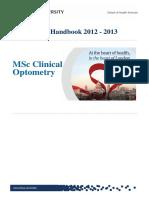 13 Programme Handbook MSc Clinical Optometry Feb 13