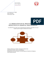 La Mediacion en El Proceso Penal, Mediation in Criminal Proceedings.