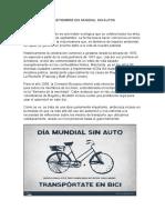 22 Setiembre Dia Mundial Sin Autos