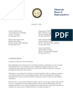 Rep. Davids letter to Governor Dayton and Legislative Leaders
