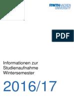 RWTH Info Studienaufnahme WiSe 2016 17 Neu
