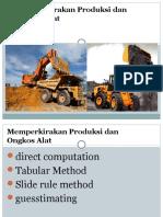 4.a Dasar Perkiraan Produksi Dan Ongkos Alat