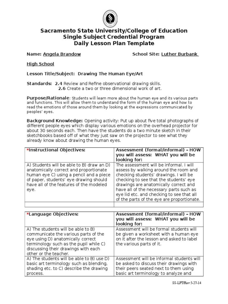 Single subject daily lesson plan template skeleton educational single subject daily lesson plan template skeleton educational assessment lesson plan saigontimesfo