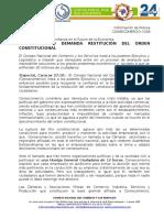 Consecomercio demanda la restitución del orden constitucional (Comunicado)