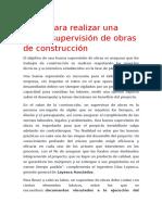 Pasos Para Realizar Una Buena Supervisión de Obras de Construcción