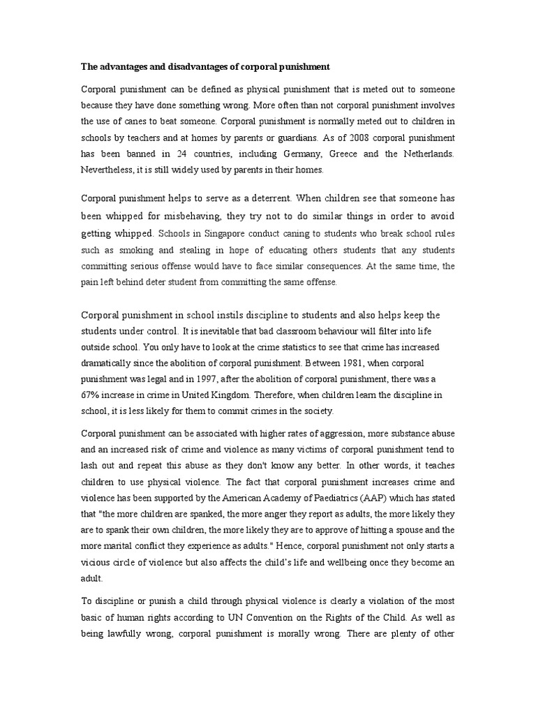 corporal punishment bad essay Corporal punishment offense, responding to a bad behaviour in group of 4 to 5 persons, write a full essay of the issue.