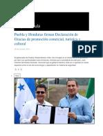 26.10.2016 Grupo Fórmula - Puebla y Honduras Firman Declaración de Gracias de Promoción Comercial, Turística y Cultural