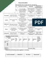 Assignment analysis sheet