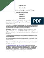 LEY 712 de 2001 Reforma El Cod Procesal de Trabajo