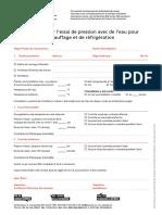 Proces Verbal Pour Lessai de Pression Avec de Leau Pour Installations de Chauffage Et de Refrogeration