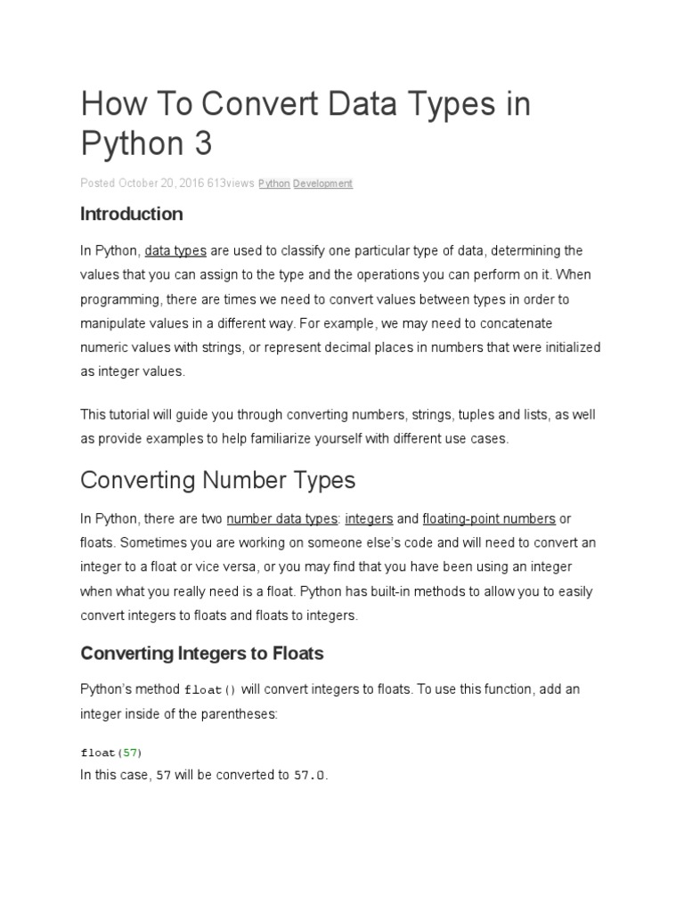 How to Convert Data Types in Python 3 | Integer (Computer
