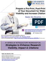 Prepare a Pre-Print, Post-Print of Your Document for Wider Visibility and Increase Citation