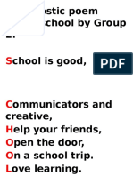 An Acrostic Poem About School by Group 2