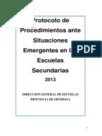 Protocolo Ante Situaciones emergentes (Escuela secundaria).