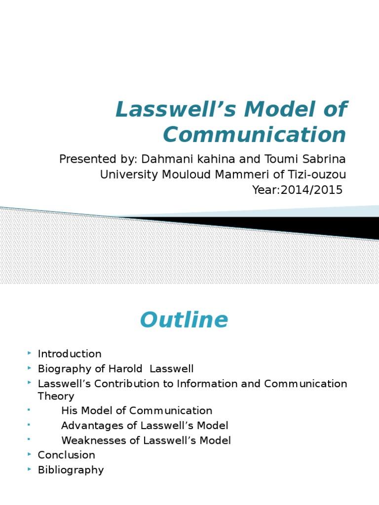 Lasswells model of communicationpptx mass media communication ccuart Gallery