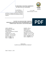 Pg&e Company's Response to the Application for Rehearing of Decision 16-08-020 10-11-16