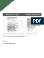 Radicais Grego e Latino