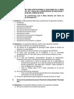 Bases y Condiciones Para Postulaciones a Elecciones de La Mesa Directiva de Cepsicol 2017