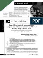 La Problemática de La Oportunidad de Incorporación Del Tercero Civil Responsable en El Nuevo Código Procesal Penal. Procesal Penal