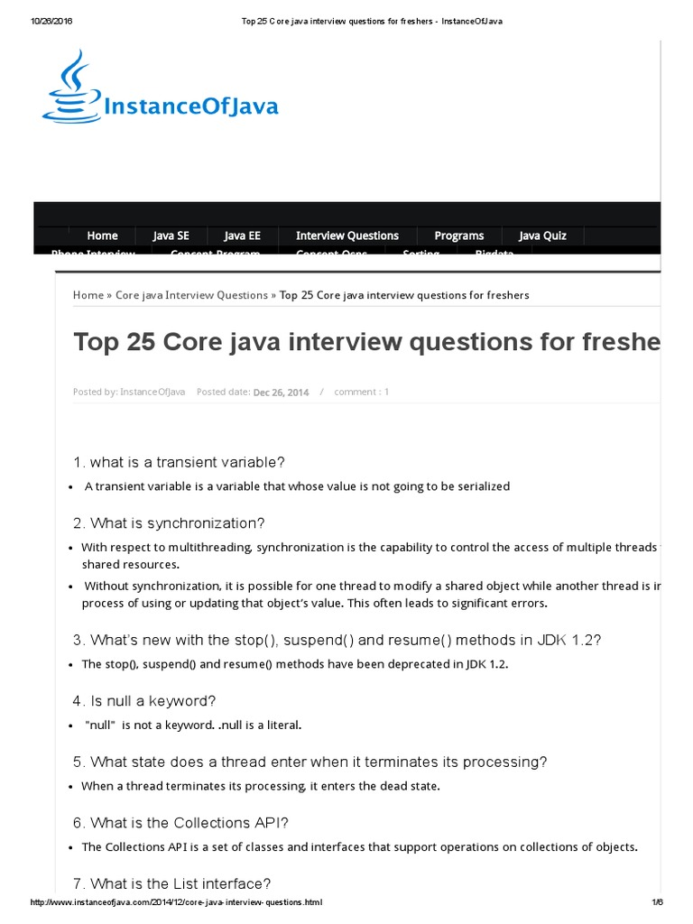 top 25 core java interview questions for freshers instanceofjava