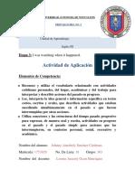 Actividad de Aplicacion Ingles 3 Etapa 3