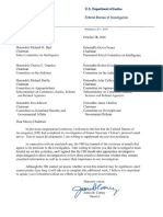 FBI Director James Comey Letter To Congressional Committees On Secretary Hillary Clinton's Email Server 10.28.2016